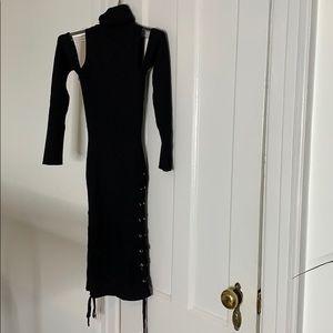 Sexy cold shoulder knit dress